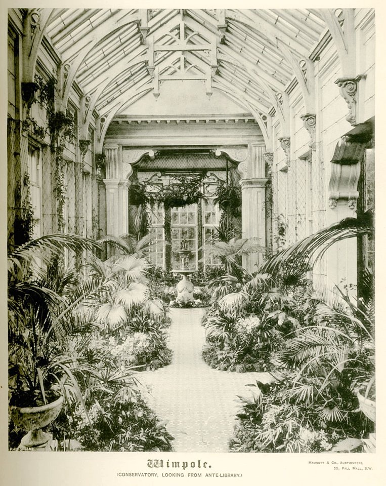 Wimpole Hall c1890, Conservatory Looking from Ante-Library