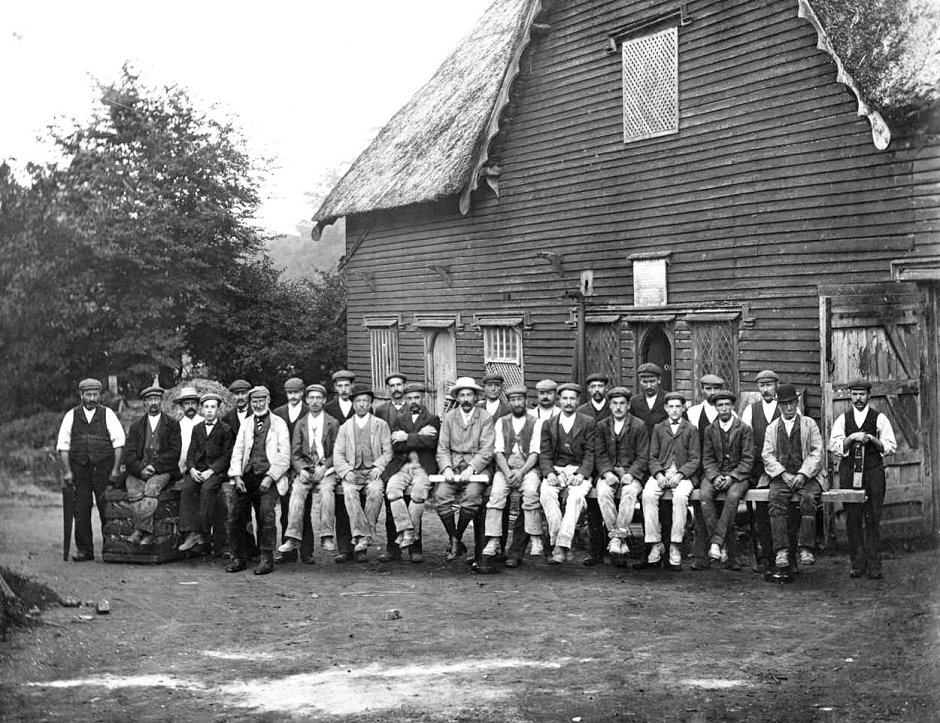 Estate workers outside Cobbs Wood Sawmill on the Wimpole Estate (c1905)